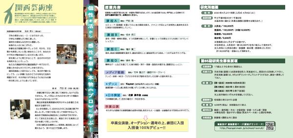 関西芸術座付属演劇研究所入所パンフレット(裏)